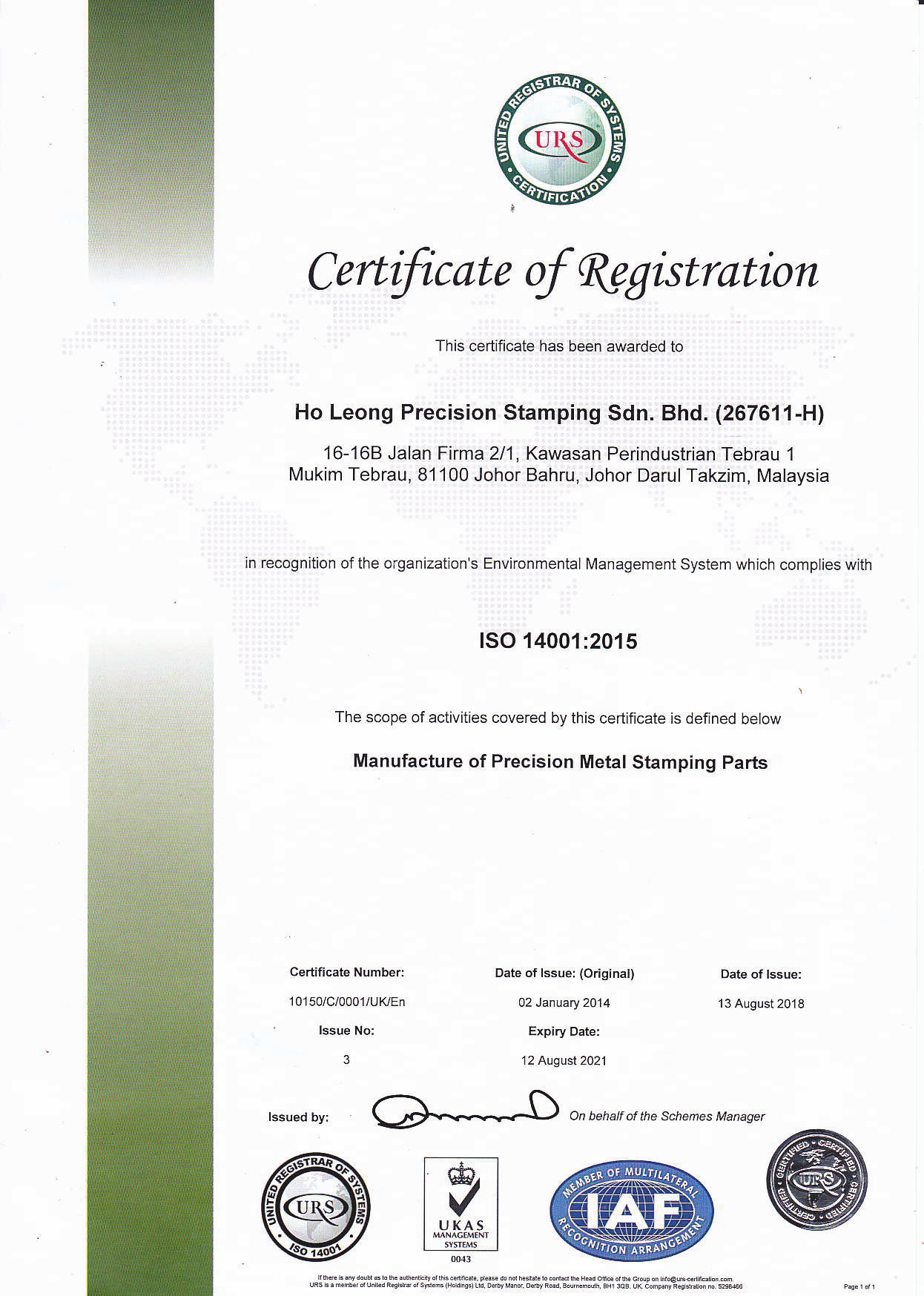 Certificate of Registration – ISO 14001:2015