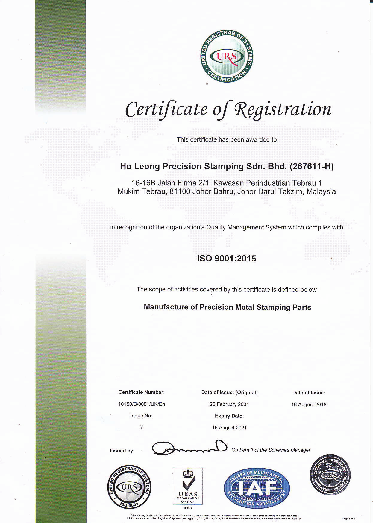 Certificate of Registration – ISO 9001:2015